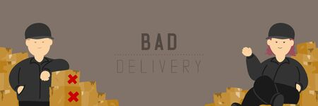 Good delivery man and woman with broken goods box, Social distancing keep distance to protection COVID-19 outbreak stay at home online shopping poster or banner illustration on background, copy space