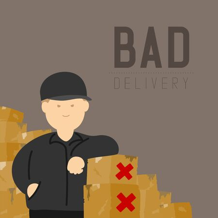 Bad delivery man with broken goods box, Social distancing keep distance to protection COVID-19 outbreak stay at home online shopping concept poster or banner illustration on background, copy space 写真素材 - 145215347