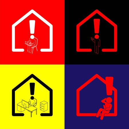 Exclamation mark with man sign pictogram with computer, laptop, smartphone, Social distancing COVID-19 stay at home and work from home concept poster or banner illustration, copy space, vector