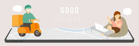 Good delivery man with GPS navigation, Social distancing COVID-19 stay at home online shopping in digital marketing from smartphone application concept poster or banner illustration vector, copy space