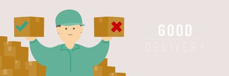 Good delivery man checking goods box, Social distancing keep distance to protection COVID-19 outbreak stay at home online shopping concept poster or banner illustration on background, copy space Ilustração