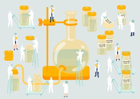 Medical personnel teamwork management manufacturing Miniature assembly lab team staff people generate COVID-19 vaccine, Science laboratory metaphor Poster or social banner Vector illustration isolated