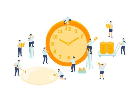 Work time employee teamwork management, Miniature assembly team staff tiny people make clock, Business metaphor concept Poster or social banner design, Vector illustration isolated on white background