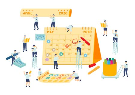 Work schedule employee teamwork management, Miniature assembly team staff make planning calendar, Business metaphor concept, Poster or social banner design, Vector illustration isolated background Imagens - 146271641