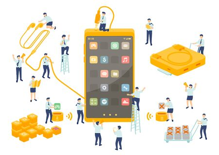 Work service technology employee teamwork management, Miniature assembly team staff install application smartphone, Business metaphor, Poster or social banner, Vector illustration isolated background Ilustração