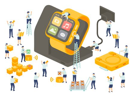 Work service technology employee teamwork management, Miniature assembly team staff install application smartwatch, Business metaphor, Poster or social banner, Vector illustration isolated background