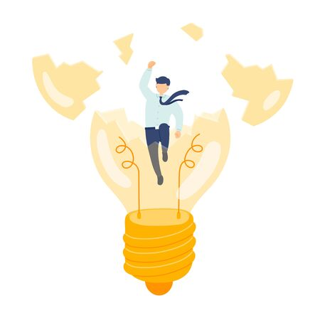 Work created idea employee management, Miniature staff people break light bulb, Business metaphor concept, Poster or social banner design, Vector illustration isolated on white background