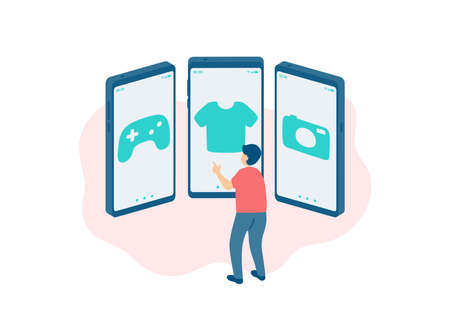 Social distancing stay at home, Miniature tiny man people shopping online, Smartphone e-commerce application concept Poster or social banner design illustration on white background, copy space vector