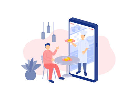 Social distancing stay at home, Miniature tiny people order food delivery online, smartphone application concept Poster or social banner design illustration on white background with copy space vector