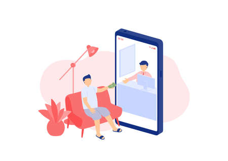 Social distancing stay at home, Miniature tiny people transfer digital money, Smartphone online banking application concept Poster or social banner illustration on white background, copy space vector Banco de Imagens - 158251003