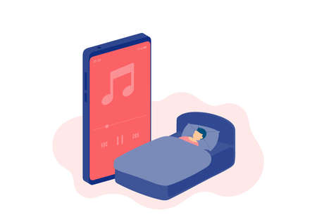 Social distancing stay at home, Miniature sleep people listen podcast online, Smartphone music streaming application concept Poster or social banner illustration on white background, copy space vector Banco de Imagens - 158251004
