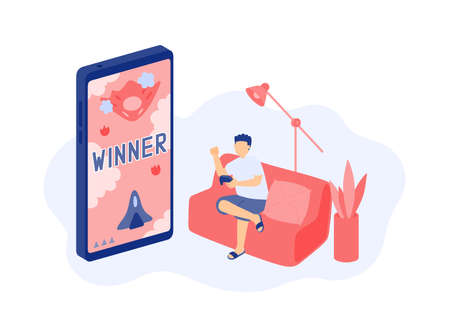 Social distancing stay at home, Miniature tiny people gaming online, Smartphone e-sport game application concept Poster or social banner design illustration on white background with copy space vector Ilustração
