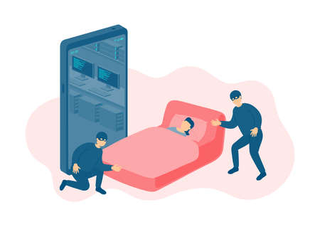 Miniature tiny people sleep victim of cybercrime online hacker, Smartphone malware application concept design Poster or social banner illustration on white background with copy space, vector