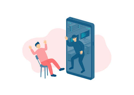 Miniature man tiny people victim of cybercrime online hacker, Smartphone malware application concept design Poster or social banner illustration on white background with copy space, vector