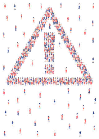 Exclamation mark sign from Miniature crowd group, Problem of internet social network technology for people concept Poster or social banner design illustration on white background, copy space, vector Ilustração