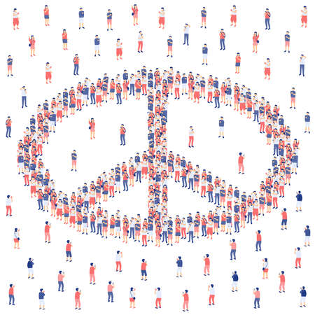 Peace sign from Miniature crowd group, Internet social network peaceful technology for people concept Poster or social banner design illustration on white background with copy space, vector Ilustração