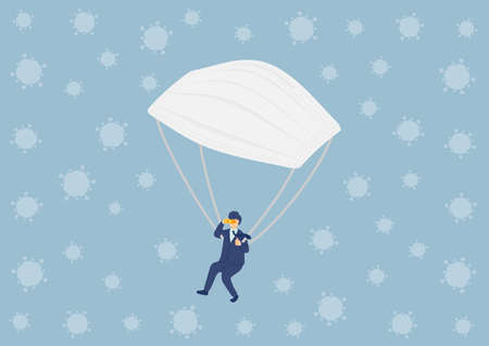 Survive Businessman with Medical Mask Parachute, Economic crisis exit from covid-19 virus concept poster and social banner horizontal design illustration isolated on blue background, vector eps 10 Ilustrace