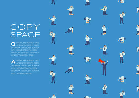 Businessman speech with Megaphone isometric seamless pattern, Press protest labor union concept poster and social banner design illustration isolated on blue background, vector eps 10, copy space Ilustrace
