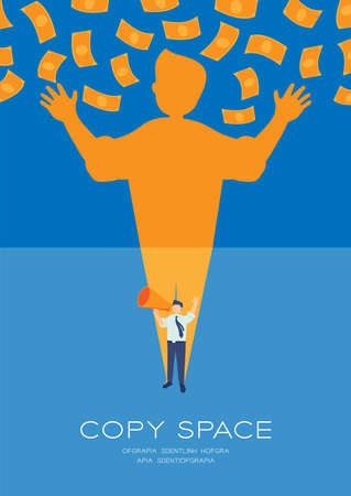 Businessman speech with Megaphone and money shadow, Press protest against dictatorship concept poster and social banner vertical design illustration isolated on blue background, vector eps 10 Ilustrace