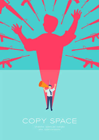 Businessman speech with Megaphone and gun shadow threaten, Press protest against dictatorship concept poster and social banner vertical design illustration isolated on blue background, vector eps 10 Ilustrace