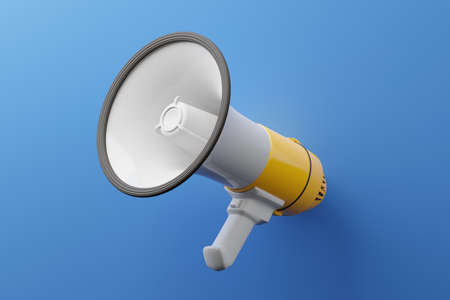 Yellow Megaphone 3D rendering, Press protest against dictatorship concept poster and social banner horizontal design on blue background with copy space Reklamní fotografie
