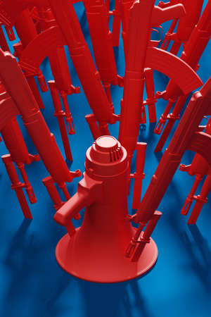 Red Megaphone stab by bayonet knife with military gun 3D rendering, Protest against dictatorship threaten censored press concept poster and social banner vertical design background with copy space