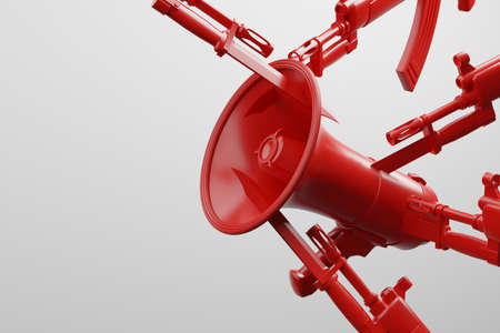Red Megaphone stab by bayonet knife with military gun 3D rendering, Protest against dictatorship threaten censored press concept poster and social banner horizontal design background with copy space