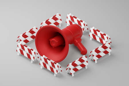 Red Megaphone with partition barrier 3D rendering, Protest against dictatorship threaten censored press concept poster and social banner horizontal design background with copy space