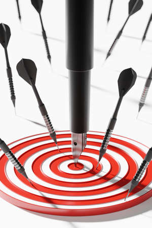 Fountain pen among dart on center dartboard 3D rendering, Business success investment concept poster and social banner vertical design background with copy space