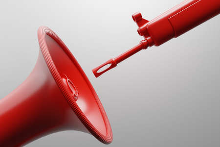 Red Megaphone with military gun 3D rendering, Protest against dictatorship threaten censored press concept poster and social banner horizontal design background with copy space