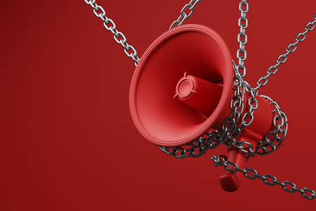 Red Megaphone with silver wiggle chain 3D rendering, Protest against dictatorship threaten censored press concept poster and social banner horizontal design background with copy space