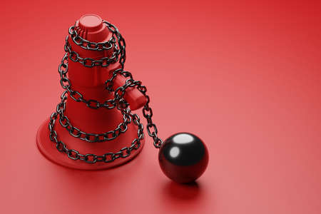 Red Megaphone with black wiggle chain and prisoner ball 3D rendering, Protest against dictatorship threaten censored press concept poster and social banner horizontal design background with copy space