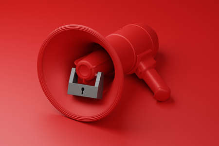 Red Megaphone with black lock 3D rendering, Protest against dictatorship threaten censored press concept poster and social banner horizontal design background with copy space Reklamní fotografie
