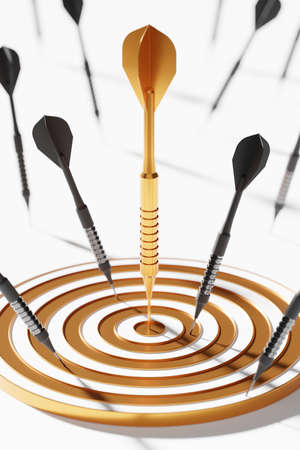 Golden dart among black on center dartboard 3D rendering, Business success investment concept poster and social banner vertical design background with copy space