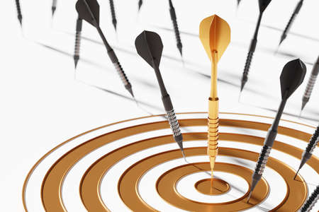 Golden dart among black on center dartboard 3D rendering, Business success investment concept poster and social banner horizontal design background with copy space