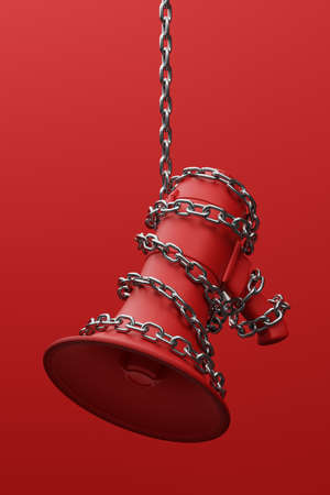 Red Megaphone with silver wiggle chain 3D rendering, Protest against dictatorship threaten censored press concept poster and social banner vertical design background with copy space