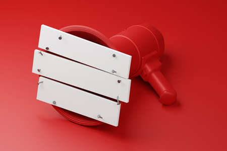 Red Megaphone closed by white wood plank with nail 3D rendering, Protest against dictatorship threaten censored press concept poster and social banner horizontal design background with copy space Reklamní fotografie