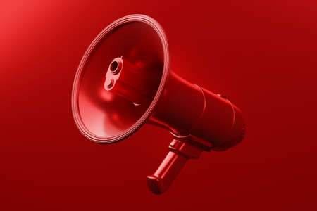 Red Megaphone with gun and bullet 3D rendering, Protest against crime violence concept poster and social banner horizontal design background with copy space Reklamní fotografie