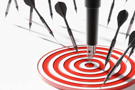 Fountain pen among dart on center dartboard 3D rendering, Business success investment concept poster and social banner horizontal design background with copy space Reklamní fotografie