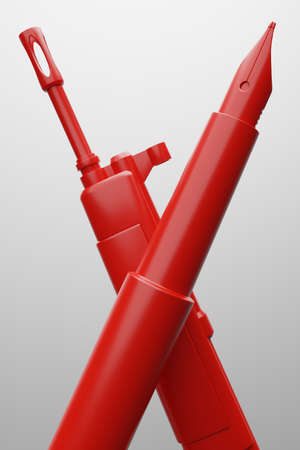 Red Fountain pen with military gun 3D rendering, Protest against dictatorship threaten censored press concept poster and social banner vertical design background with copy space