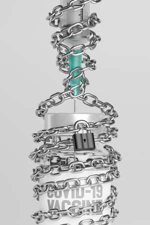 3D rendering Covid-19 vaccine syringe and bottle lock with chain, Hoarding problem, Vaccination Campaign for Herd immunity protection from pandemic concept design on grey background with copy space