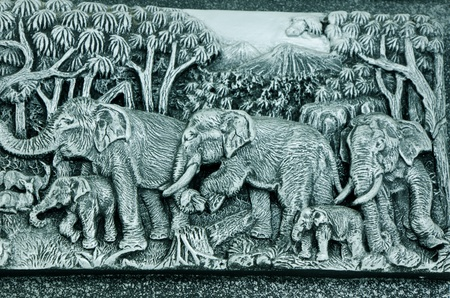 Ornament beautiful art sculpture of elephants and nature environment,thailand photo