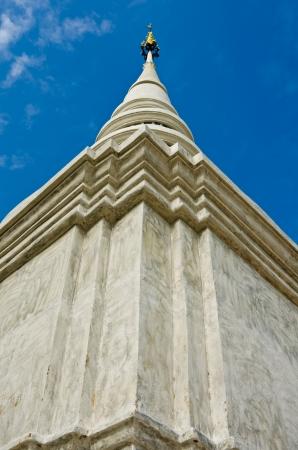 saun: White pagoda in Wat Saun Dork, Chiang Mai province, Thailand