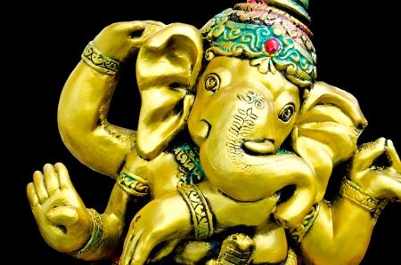 destroyer: Deity of Ganesha from India on black background Stock Photo
