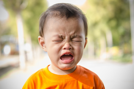 Beautiful sad little girl crying,thailand photo