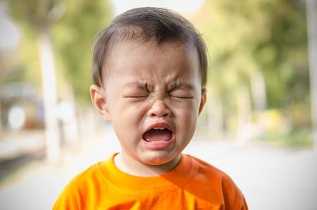 Beautiful sad little girl crying,thailand