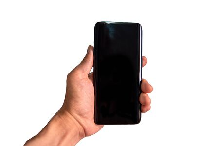 isolate of mobile phone in hand on white background Embedded with path For easy editing