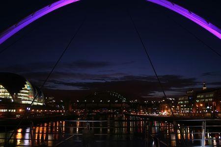 Newcastle upon Tyne bridges in the evening  photo