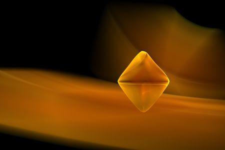 uncut: Un diamante di colore giallo-oro frattale imitando uno uncut lucidato gemma