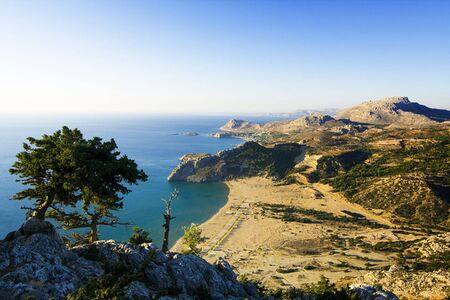 rhodes: A view on Tsambika (Tsampika) beach on Rhodes Island, Greece from the Tsampika Monastery
